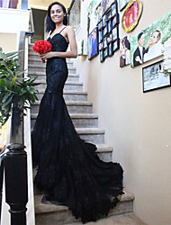 cheap -Mermaid / Trumpet Wedding Dresses Sweetheart Neckline Chapel Train Lace Satin Tulle Spaghetti Strap Black with Appliques 2021