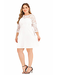 cheap -Women's A Line Dress Short Mini Dress White Black Long Sleeve Solid Color Backless Lace Patchwork Fall Round Neck Casual 2021 XL XXL 3XL 4XL 5XL / Plus Size