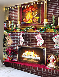 cheap -Christmas Day Party Wall Tapestry Art Deco Blanket Curtain Picnic Table Cloth Hanging Home Bedroom Living Room Dormitory Decoration Christmas Tree Candle Fireplace Christmas Stocking