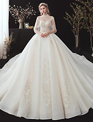 cheap -Ball Gown Wedding Dresses Off Shoulder Court Train Lace Tulle Sleeveless Country Romantic with Embroidery Appliques 2020