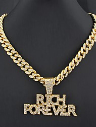 cheap -Men's Statement Necklace Friends Rock Alloy Gold 55 cm Necklace Jewelry 1pc For Street
