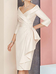 cheap -Sheath / Column Mother of the Bride Dress Elegant Vintage Plus Size V Neck Knee Length Satin 3/4 Length Sleeve with Sash / Ribbon Ruching 2020 Mother of the groom dresses