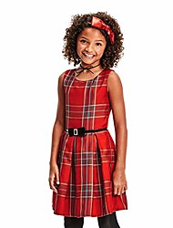 cheap -girls' big sleeveless pleated dress, classicred, 14