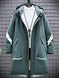 cheap -Men's Down Parka Color Block POLY Black / Green M / L / XL