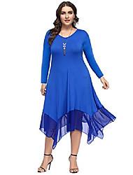 cheap -women plus size chiffon asymmetrical hem loose tunics dress 18w blue