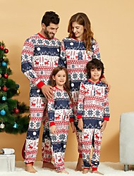 cheap -Family Look Family Matching Outfits Overall & Jumpsuit Graphic Animal Long Sleeve Print Rainbow Christmas