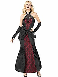 cheap -women's vampire queen halloween cosplay costume spider web lace fancy party dress (black)