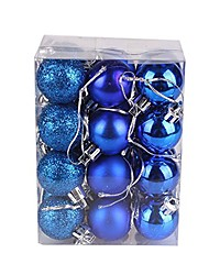 cheap -24ct 30mm christmas balls ornaments for xmas tree, shatterproof decorations tree balls for holiday wedding party decoration (blue)