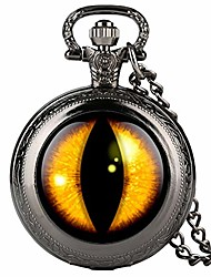 cheap -fine chain black mens pocket watch, yellow vertical pupil pattern quartz pocket watch for boy, arabic digital pocket watches for teenager