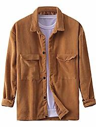 cheap -mens corduroy shirts jackets, casual loose long-sleeve corduroy shirt buttons chest pocket jacket khaki