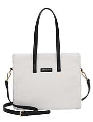 cheap -Women's Bags Faux Fur Top Handle Bag Zipper Daily Outdoor Handbags Baguette Bag White Black Blue Blushing Pink