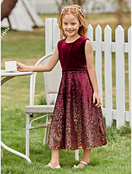 cheap -Kids Girls' Sweet Cute Solid Colored Sequins Sleeveless Midi Dress Red