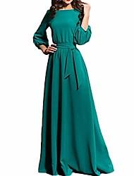 cheap -women boho long dress,women's 3/4 sleeve vintage faux wrap long maxi dress with belt (l,green)