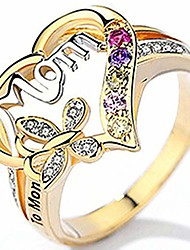 cheap -18k gold plated mom mother's day butterfly style ring (gold, 10)