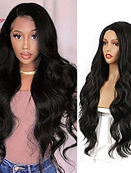 cheap -30 inch body wave wig long wave black wigs for women side part synthetic hair wigs natural looking heat resistant full wig (30inches)
