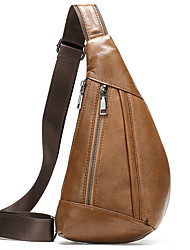 cheap -Men's Bags Cowhide Crossbody Bag Zipper Chain Bag Daily Going out Black Brown Coffee
