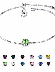 cheap -silver august birthstone bracelet white gold plated copper cz crystal adjustable bangle gifts for women and girls (12 color)