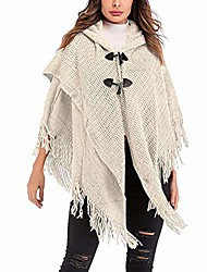 cheap -women loose tassels button hood cloak cape poncho jacket coat knit sweater shawl (beige)