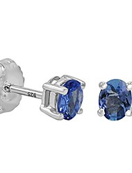 cheap -tanzanite stud earrings set in sterling silver (real genuine tanzanite)