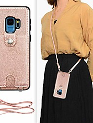cheap -samsung galaxy s9 crossbody wallet case,premium leather case with detachable adjustable crossbody strap and credit card slots for samsung galaxy s9 5.8 inch-rose gold