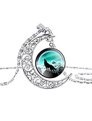 cheap -dome moon howling wolf time gems pendant necklaces hollow out carved fashion jewelry(style 6)