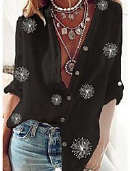 cheap -Women's Blouse Shirt Floral Long Sleeve Standing Collar Tops Black
