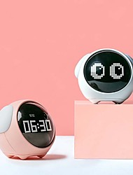 cheap -Cute Expression Pixel Kids Alarm Clock Multi Function Electronic Digital Led Night Wake Up Light Table Clock