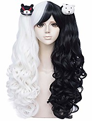cheap -anime monokuma cosplay wig with pigtails, long black and white lolita gothic junko wigs  without accesorries