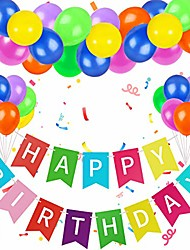 cheap -colorful happy birthday banner rainbow happy birthday party decorations with assorted colorful birthday balloons rainbow birthday decorations for girls