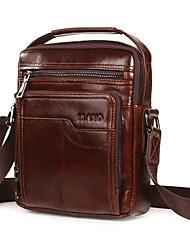 cheap -Men's Bags Leather Shoulder Messenger Bag Crossbody Bag Solid Color Daily Dark Brown Red Brown Black