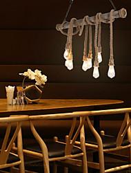 cheap -8-Light 8-Head 100cm Vintage Hemp Rope With Bamboo Pendant Lights Loft Creative Living Room Restaurant Clothing Store Lamp