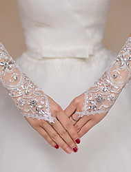 cheap -Lace Elbow Length Glove Lace / Gloves With Appliques / Crystals / Rhinestones
