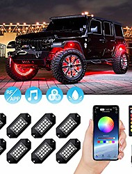 cheap -RGB LED Rock Lights 120 LEDs Multicolor Underglow Neon Lights Waterproof Aluminum Light Kit with RF/APP Control Music Mode Timing Function for Truck Jeep Off Road Car UTV ATV SUV 8 Packs