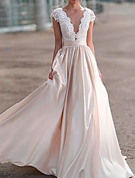cheap -A-Line Wedding Dresses V Neck Floor Length Lace Satin Sleeveless Beach with Split Front 2021