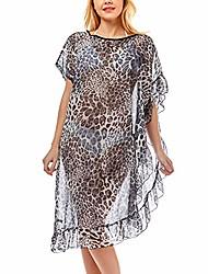 cheap -me plus women swimsuit beach cover up fashion half ruffled shawl bikini beachwear bathing suit (leopard ruffled - grey)