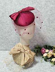 cheap -Headpieces Wedding Silk / Fabrics Fascinators / Hats / Headpiece with Satin Bow / Cap / Trim 1 Piece Wedding / Horse Race Headpiece