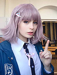 cheap -chiaki nanami cosplay wigs for danganronpa costume short lavender purple hair wig anime harajuku lolita cute synthetic wigs for party with 1 aircraft hairpin ad018pk