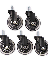 cheap -5pcs 3inch Universal Mute Wheel Office Chair Caster Replacement Swivel Rubber Soft Safe Rollers Furniture Hardware with 11mm*22mm Rod