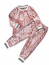 cheap -baby girls velvet clothes outfit pant set long sleeve sweatshirt tops pants fall winter tracksuit