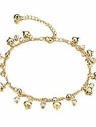 cheap -18k gold plated copper women anklet bracelet chain lantern/heart/bells pendant adjustable