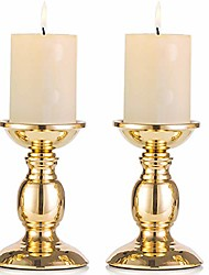 """cheap -gold 2 pcs iron pillar candle holders, gold candlestick most ideal for 3"""" pillar candles or flameless led candles, gifts for wedding, party, home, spa, reiki, votive candle (2 x s)"""