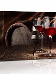 cheap -two glasses of red wine on table canvas wall art kitchen living room wall decorations 12x16 in 1 pcs stretched and framed