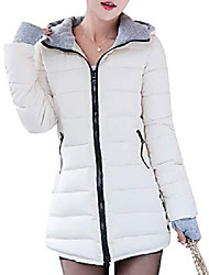 cheap -women's winter warm hooded down cotton quilted padded parka jacket coat (white, small)