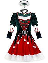 cheap -Santa Claus Cosplay Costume Women's Adults' Costume Party Christmas Christmas Velvet Dress / Belt / Hat / Neckwear