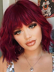 cheap -Synthetic Curly Bob Wig with Bangs Short Bob Wavy Hair Wig Wine Red Color Shoulder Length Wigs for Women Bob Style Synthetic Heat Resistant Wigs