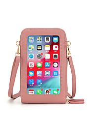 cheap -Women's Bags PU Leather Mobile Phone Bag Crossbody Bag Zipper Plain 2021 Daily Wine Watermelon Red Black Blue