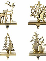 cheap -christmas stocking holders for fireplace mantle anti-slip reindeer pine tree snowman snowflake stand hanger sturdy metal christmas decorations (1 set-4pcs)