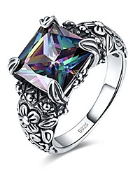 cheap -antique 925 sterling silver floral band created mystic rainbow topaz gemstone ring for women