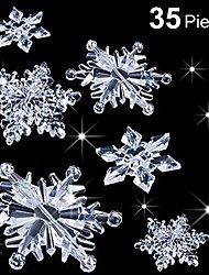 cheap -35 pieces acrylic crystal snowflakes ornaments xmas tree pendant diy winter wonderland snowflake snow theme decoration (clear)