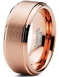 cheap -tungsten wedding band ring 8mm men women comfort fit 18k rose gold plated step bevel edge brushed polished size 11